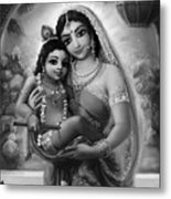Yashoda And  Krishna Black-white Metal Print