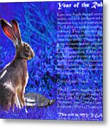Year Of The Rabbit 2011 . Blue Metal Print