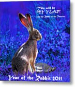 Year Of The Rabbit 2011 . Square Blue Metal Print