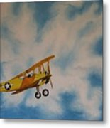 Yellow Airplane Metal Print