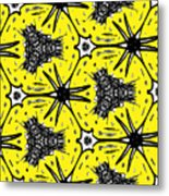 Yellow And Black Abstract Metal Print