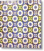 Yellow And Blue Circle Tile Metal Print
