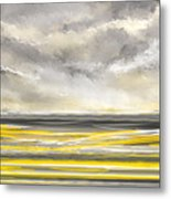 Yellow And Gray Seascape Art Metal Print