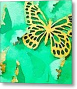 Yellow And Green Butterfly Metal Print
