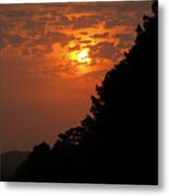 Yellow And Orange Sunset With Tree Silhouette On Bottom And Right Metal Print
