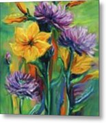 Yellow And Purple Flowers Metal Print