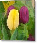 Yellow And Purple Tuilps Metal Print
