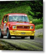Yellow And Red Fiat 127 Metal Print