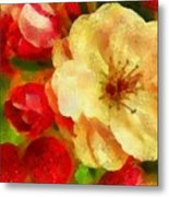 Yellow And Red Floral Delight Metal Print