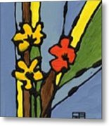 Yellow And  Red Flower Metal Print