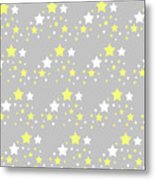 Yellow And White Stars On Grey Gray  Metal Print
