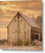 Yellow Barn, Yellow Sunset Metal Print