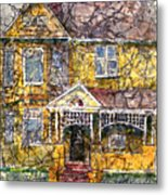 Yellow Batik House Metal Print