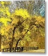Yellow Bend Metal Print by Joyce Kimble Smith