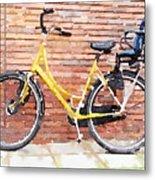 Yellow Bicycle Digital Watercolour Metal Print