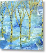 Yellow Birches Metal Print