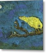 Yellow Bird And  Moon Metal Print