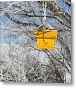 Yellow Bird House Metal Print