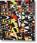 Yellow Black Red White Drawing Abstract Metal Print
