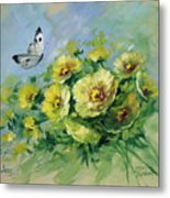 Yellow Blossoms And Butterfly Metal Print