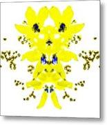 Yellow Blue Blossoms Metal Print