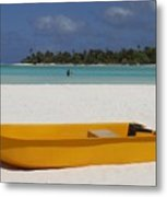 Yellow Boat In South Pacific Metal Print
