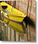 Yellow Boat In Venice Metal Print