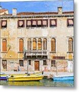 Yellow Boat - Venice Italy Metal Print