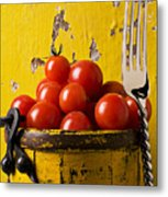 Yellow Bucket With Tomatoes Metal Print by Garry Gay