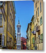 Yellow Buildings And Chapel In Old Town Nice, France - Landscape Metal Print