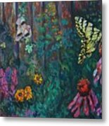Yellow Butterfly Perched Metal Print
