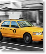 Yellow Cab In Manhattan In A Rainy Day. Metal Print