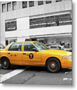 Yellow Cab In Manhattan With Black And White Background Metal Print