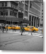 Yellow Cab On Fifth Avenue, New York 4 Metal Print