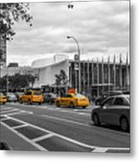 Yellow Cabs By The United Nations, New York 2 Metal Print