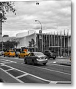Yellow Cabs By The United Nations, New York 3 Metal Print
