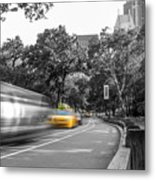 Yellow Cabs In Central Park, New York 3 Metal Print