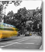 Yellow Cabs In Central Park, New York 4 Metal Print