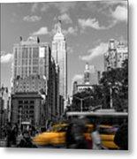Yellow Cabs In Midtown Manhattan, New York Metal Print