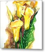 Yellow Callas Metal Print