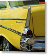 Yellow Chevrolet Tail Fin Metal Print