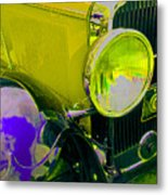 Yellow Cloud Reflection In Neon Metal Print