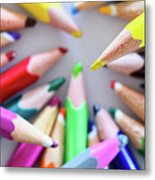 Yellow. Colored Pencils Used By Children Metal Print