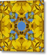 Yellow Coneflower Kaleidoscope Metal Print