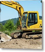 Yellow Excavator In Anacortes Metal Print