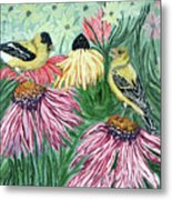 Yellow Finches Metal Print