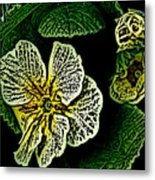Yellow Flower Woodcut Metal Print