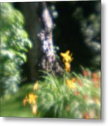 Yellow Flowers In Monets Garden Metal Print