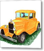 1932 Yellow Ford Hot Rod Coupe Metal Print