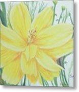 Yellow Garden Flower Metal Print